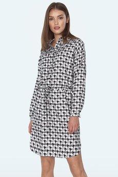 Nife - Sukienka wiązana w talii we wzór pepitko (S164)
