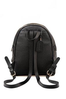 GAWOR - Skórzany czarny plecak złote dodatki