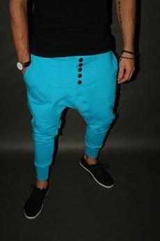 Button - LONG PANTS 5 BUTTONS UNISEX dresowe turkusowe