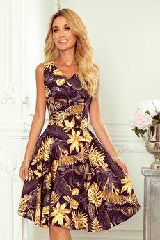 numoco - 114-13 Rozkloszowana sukienka - złote liście