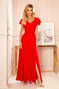 numoco - 310-2 LIDIA długa sukienka z dekoltem i falbankami