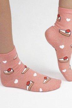 CandySox.PL - Skarpetki damskie różowe z tortem