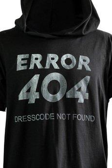 PIKIEL - Czarny t-shirt z kapturem ERROR 404