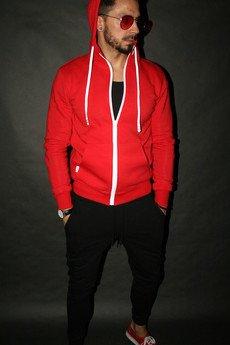 Button - BLUZA BUTTON HOODIE RED - bluza  kapturem czerwona