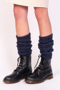 Lanti - 2w1 Getry lub rękawki w warkoczowy wzór - jeans