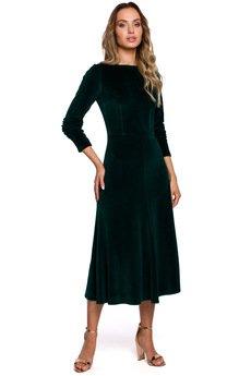 MOE - Welurowa sukienka midi - M557