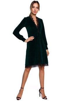 MOE - Welurowa sukienka z koronką - M563
