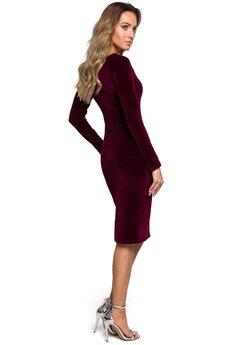 MOE - Welurowa sukienka ołówkowa - M565