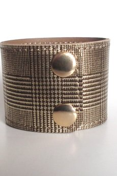 Mikashka - Bransoleta skórzana skóra złota kratka