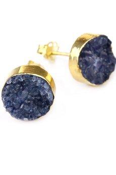 Brazi Druse Jewelry - Earrings Agat Druza Szafirowa złoto