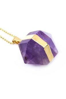 Brazi Druse Jewelry - Colare Ametyst Beczułka Duża złoto