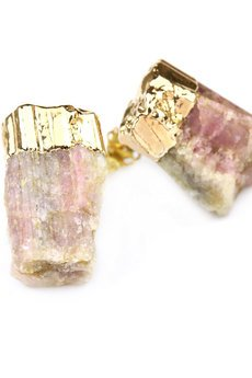 Brazi Druse Jewelry - Earrings Turmalin Różowy złoto