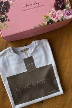 Elevenstory - T-shirt biały LOVE STORY CHOCOLATE