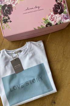 Elevenstory - T-shirt biały LOVE STORY SMOKEY BLUE