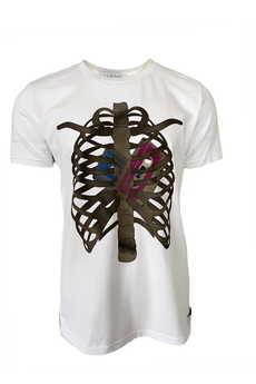 Elevenstory - Bawełniany męski t-shirt z nadrukiem WHITE