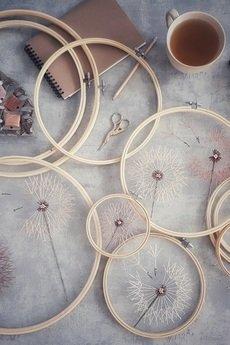 Pejotka - Dmuchawce beżowe, boho- haft na tiulu