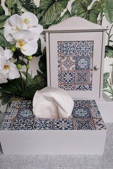 manufaktura - Pudełko na chusteczki -Portugalskie kafelki-04