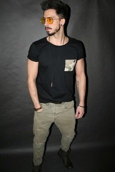 Button - TSHIRT ONE POCKET TEE MORO CAMO MILITARY BLACK