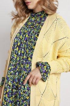 MKM swetry - Ażurowy żółty płaszczyk, PA011 żółty mkm