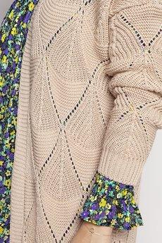 MKM swetry - Ażurowy beżowy płaszczyk, PA011 beż mkm