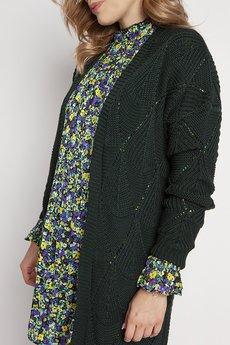 MKM swetry - Ażurowy zielony płaszczyk, PA011 ciemna zieleń mkm