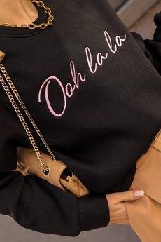 Ooh la la - Czarna bluza oversize z różowym haftem